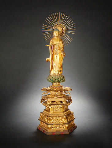 A Japanese sectional, gilt-wood sculpture of a Buddhist Deity, probably The Amida