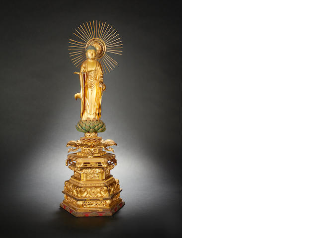 Japanese gilt-wood sculpture of the Amida Buddha