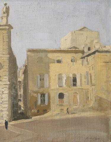 Sir William Nicholson (British, 1872-1949) La Place des Papes, Avignon (or Place de Palais, Avignon/Le Château, Avignon) 43 x 35.5 cm. (17 x 14 in.)