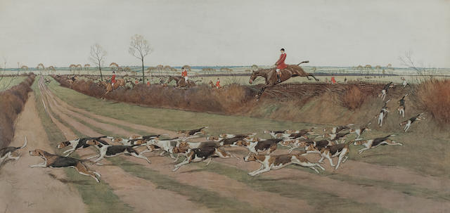 After Cecil Charles Windsor Aldin, RBA The Pytchley Hunt Away from Crick After Lionel Dalhousie Robertson Edwards, RI <BR />The Zetland at Catlin Whin <BR />Published by The Sporting Gallery, 33 x 50cm (13 x 19 11/16in).