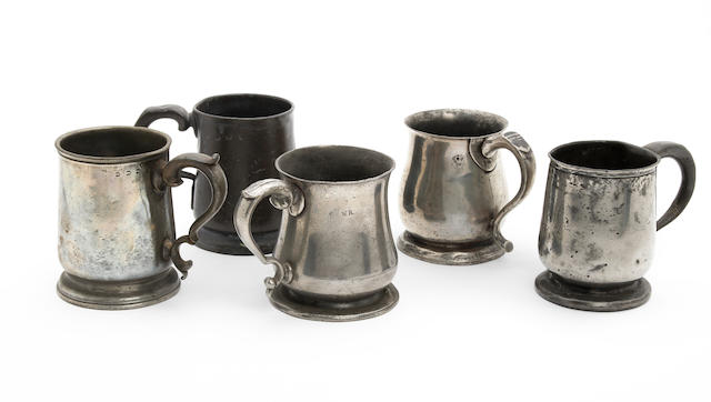 Five 18th/19th century tulip-shaped mugs,
