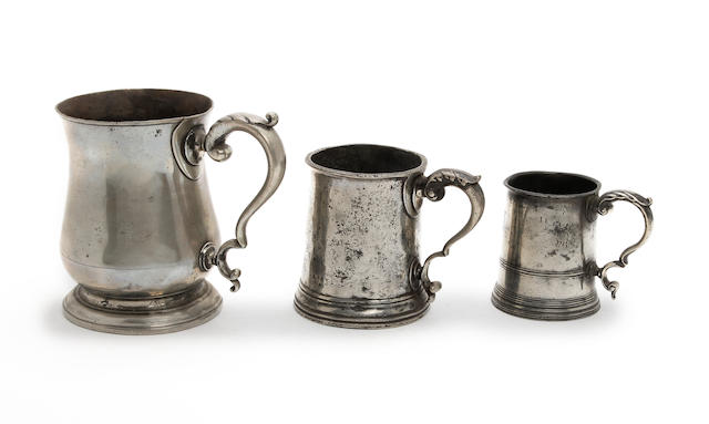 Three Pre-Imperial mugs, each with acanthus leaf cast thumbrest, circa 1770