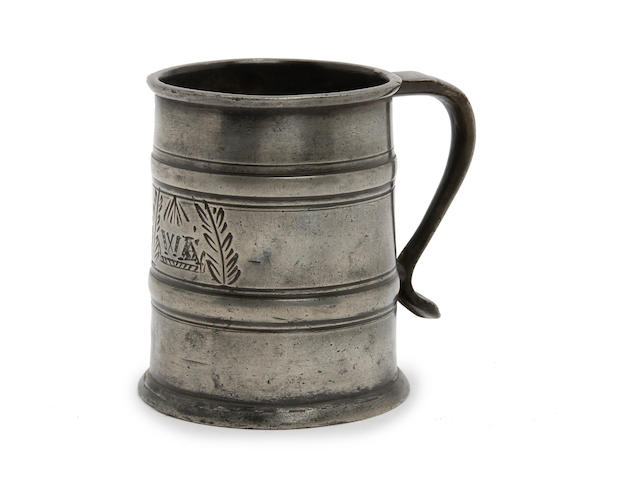 A half-pint two-band tavern mug, circa 1690