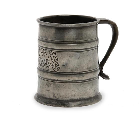 A half-pint two-band tavern mug, circa 1690