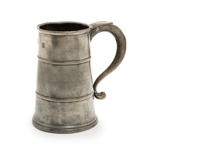 A quart two-band tavern pot, circa 1715