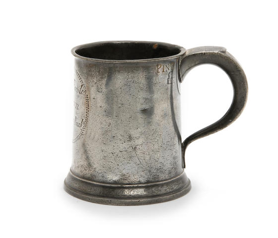 A pint straight-sided mug, circa 1780