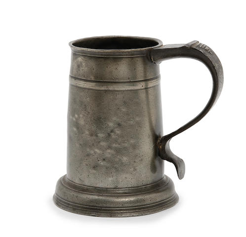A rare Wigan high single-fillet tavern pot, of ale-pint capacity, circa 1720