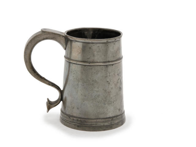 A quart high single-fillet tavern pot, circa 1720