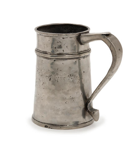 A rare quart high single-fillet tavern pot, circa 1720