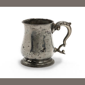 A Pre-Imperial pint tulip-shape mug, with acanthus leaf cast thumbrest, circa 1770