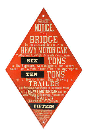 A large bridge weight limit warning sign, circa 1908,