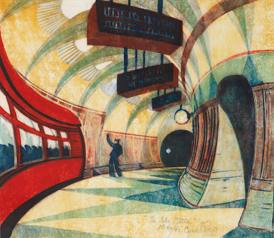Cyril Edward Power (British, London 1872-1951) Tube Station (Coppel CEP 32) Linocut printed in yellow ochre, spectrum red, permanent blue, viridian and Chinese blue, c.1932, a good impression, on buff oriental laid tissue, signed, titled and numbered 60/60 in pencil, with margins, 258 x 295mm (10 x 11 5/8in)(B)
