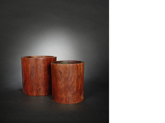 Two wood brush pots, bitong