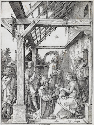 Albrecht Dürer (German, 1471-1528) The Adoration of the Magi Woodcut, 1511, possibly a meder a/b impression, with a short crack below the robe of the kneeling king, a High Crown watermark, on laid, 295 x 217mm (11 5/8 x 8 1/2in)(B)