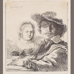 Rembrandt Harmensz van Rijn (Dutch, 1606-1669) Self portrait with Saskia Etching, 1636, second state of three, with the slipt stroke above Saskia's eyebrow removed and with the slipt stroke across her breast, on laid, 104 x 95mm (4 1/8 x 3 3/4in)(PL)