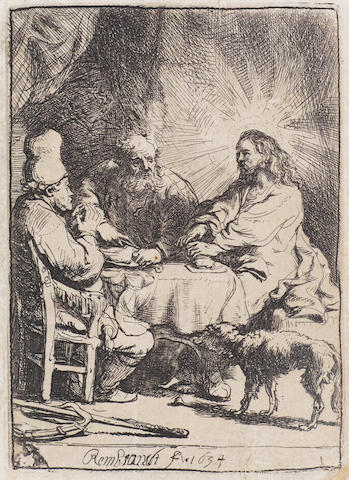 Rembrandt Harmensz van Rijn (Dutch, 1606-1669) Christ at Emmaus: The Smaller Plate Etching, 1634, believed to be Nowell-Usticke's late impression of the second state, with fine verticals under the dog's chest and some ware under the table, on laid, with narrow margins, 102 x 73mm (4 x 2 7/8in)(PL)