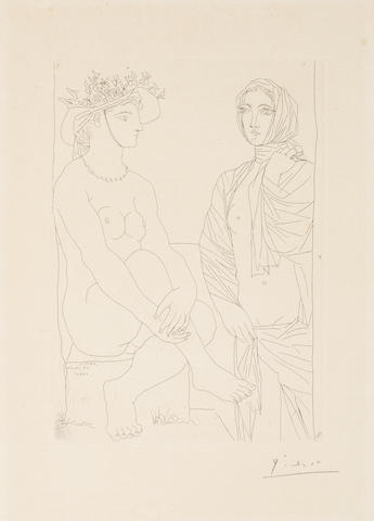 Pablo Picasso (Spanish, 1881-1973) Au Bain: Femme Assise au Chapeau à Fleurs et Femme Debout Drapée dans une Serviette, from La Suite Vollard Etching, 1934, on Montval laid, with the Picasso watermark, signed in pencil, from the edition of 260, printed by Lacourière, Paris, published by Ambroise Vollard, Paris, 275 x 195mm (10 7/8 x 7 5/8in)(PL)