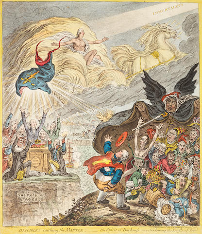 James Gillray (British, 1757-1815) Disciples Catching the Mantle Etching with engraving and hand colouring, 1808, on laid, published June 25th by H.Humphrey, 395 x 340mm (15 1/2 x 13 3/8in)(PL)
