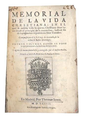 LUIS, de Granada Memorial de la vida Christiana, 1594, and another (2)