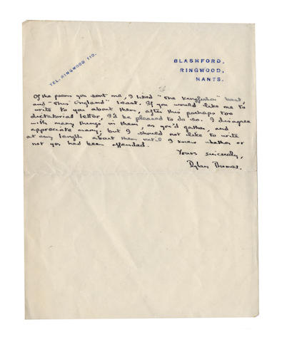 "THOMAS (DYLAN) Autograph letter signed (""Dylan Thomas""), to Guy Hartcup, A MAGNIFICENT POETIC CREDO BY DYLAN THOMAS, WRITTEN IN PRAISE OF W.H. AUDEN AND THE CRAFT OF POETRY, 1938"