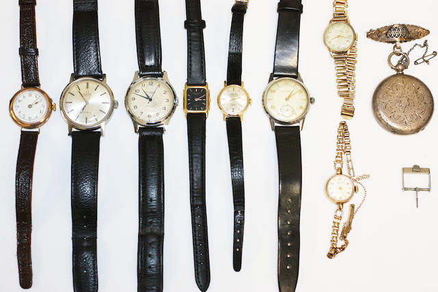 SILVER POCKET WATCH & 8 OTHER WATCHES INCLUDING A BUREN, VERTEX RAYMOND WEIL, CONVERSION, OMEGA, INGERSOL, MONTINE & A MOVADO