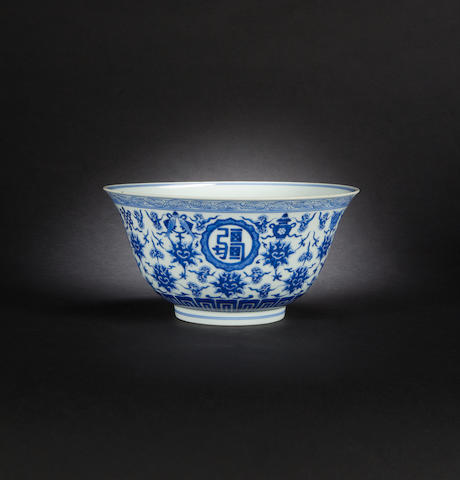 A blue and white bowl Jiaqing seal mark