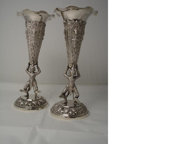 A pair of Burmese flute vases unmarked  (2)