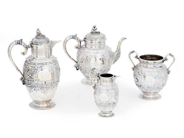 A Victorian four piece silver tea service with maker's mark of JR probably for J.Reid, Glasgow 1896