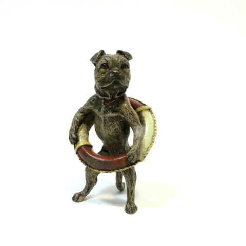 An Austrian Bergmann cold painted bronze of a pug in a life ring