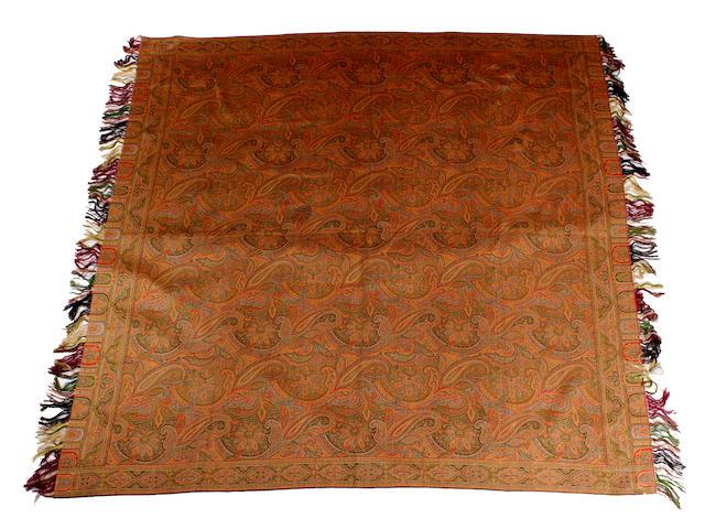 A double-sided woven paisley shawl, mid 19th century