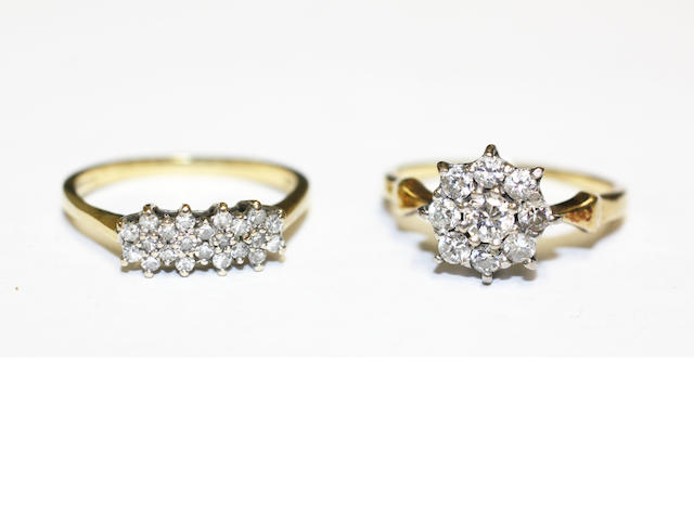Diamond cluster ring and a diamond half hoop ring (2)