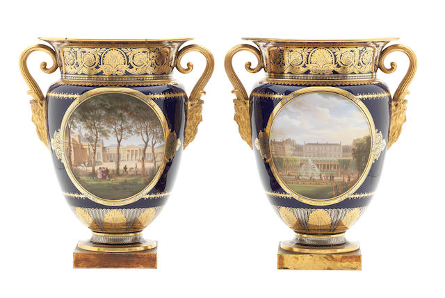 "A pair of Sèvres blue-ground topographical ice pails (glacières ""Vase B"") from the Service des petites vues de France, dated 1830"