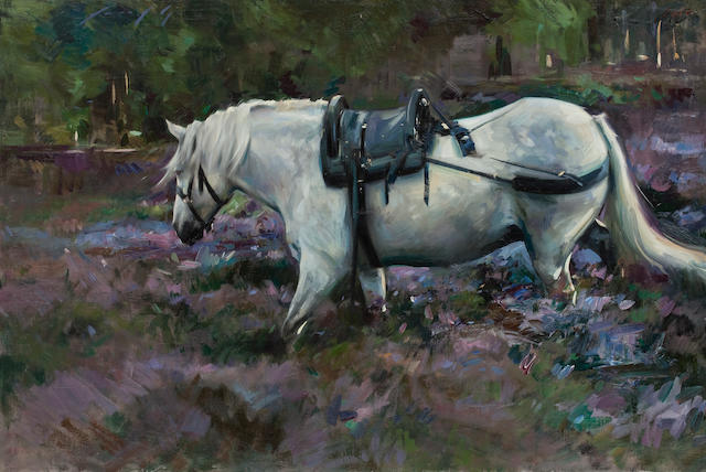 Marcus Hodge, (born 1966) Grey Deer Pony in purple heather