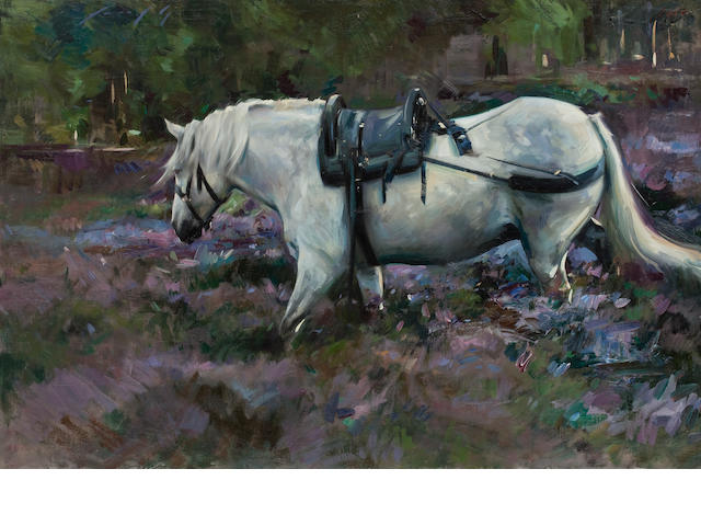 Marcus Hodge, (20th century) Grey pony in heather