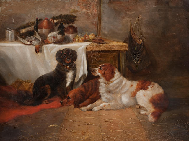 George Armfield (British, 1810-1893) Gun dogs with game