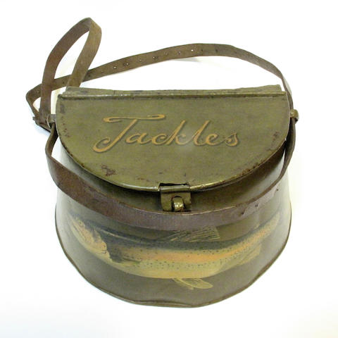 A 19th century painted tin creel