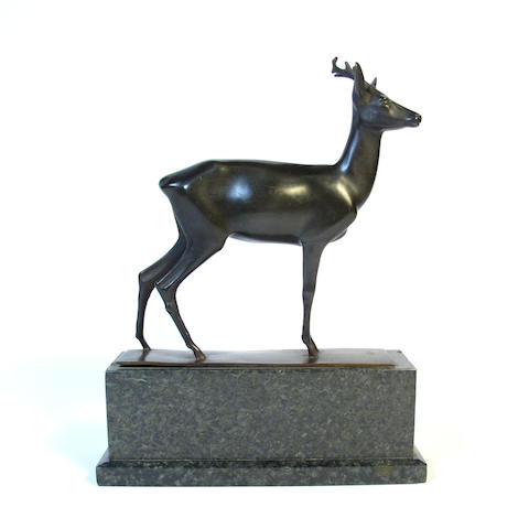 A bronze figure of a roe buck, circa 1930