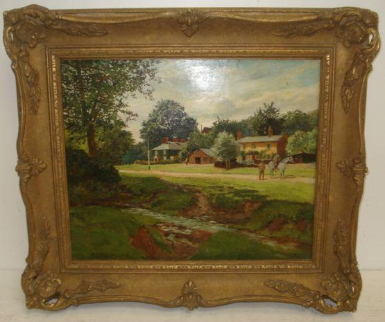 Thomas J. Purchas (British) Landscape With Stream And Houses 25 x 30cm.