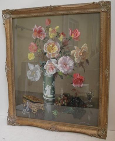 A** G** McManus (British, 20th Century) Vase Of Flowers 65 x 55cm.