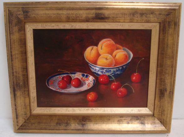 Maimie Gerrard (British, 20th Century) Peaches And Cherries 19 x 27cm.