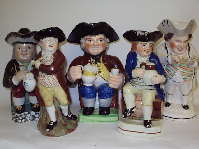 Five various Staffordshire Toby jugs