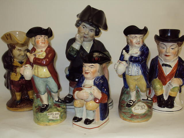 Six various Staffordshire jugs