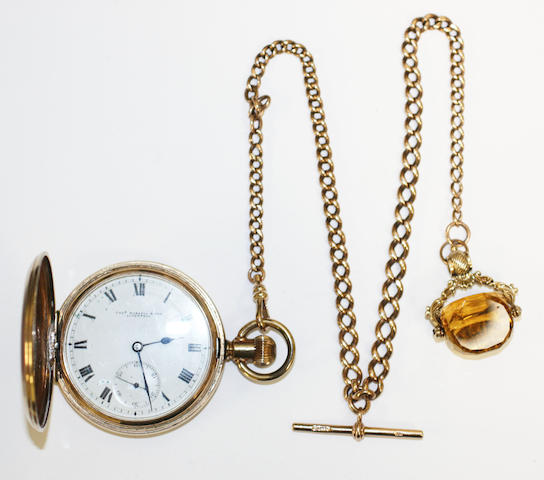 Gold plated pocket watch & chain