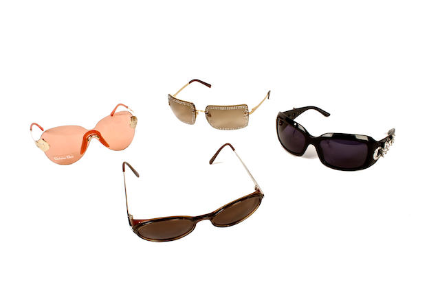 A group of designer glasses