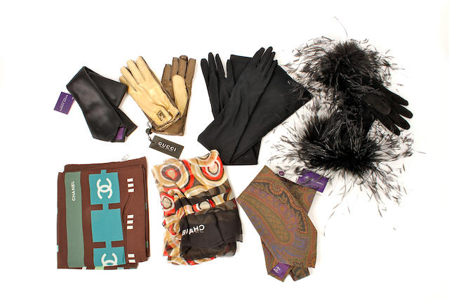 A group of designer accessories