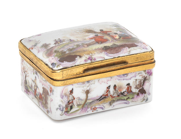 A gilt-metal-mounted German porcelain snuff box, probably Meissen, circa 1770, damaged
