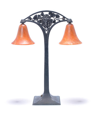 Edgar Brandt A Wrought Iron Table Lamp, circa 1925