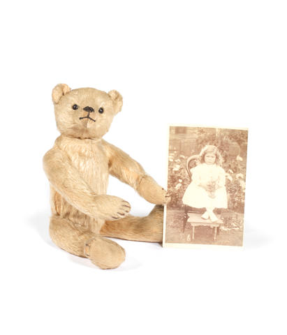 Teddy bear with photograph of original owner, German, 1910   2