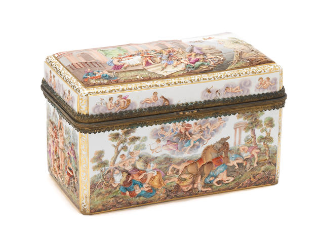 A Meissen gilt-metal-mounted casket, second half 19th century