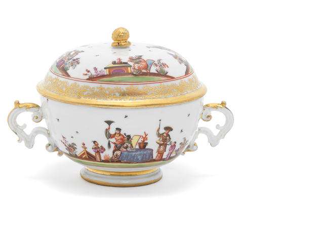 A Meissen two-handled ecuelle and cover, circa 1740
